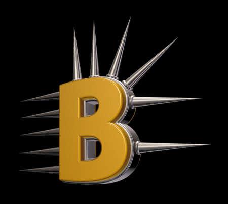 prickles: letter b with metal prickles on black background - 3d illustration Stock Photo