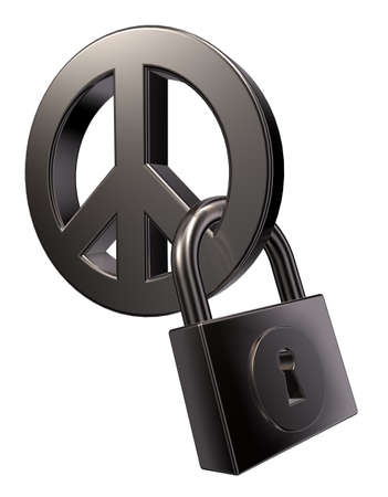 disarmament: metal peace symbol and padlock on white background - 3d illustration