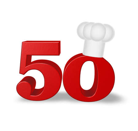 number fifty with cook hat on white background - 3d illustration Stock Illustration - 16854825
