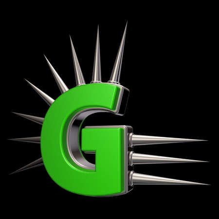 letter g with metal prickles on black background - 3d illustration Stock Illustration - 16854843