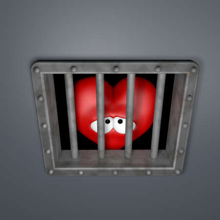 sad cartoon heart behind prison window - 3d illustration Stock Illustration - 16854872