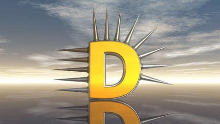 letter d with metal prickles under cloudy blue sky - 3d illustration Stock Illustration - 16854871