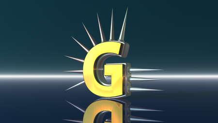 letter g with metal prickles - 3d illustration Stock Illustration - 16854837