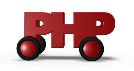 php tag on wheels - 3d illustration illustration