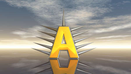 prickles: letter a with metal prickles under cloudy sky - 3d illustration