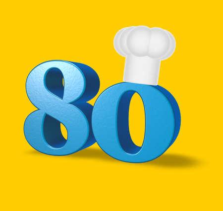 achtzig: Nummer 80 mit Kochm�tze auf gelbem Hintergrund - 3d illustration