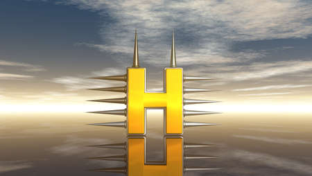 letter h with metal prickles under cloudy blue sky - 3d illustration illustration