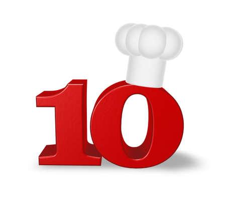numero diez: n�mero diez con el sombrero de cocinero en el fondo blanco - ilustraci�n 3d