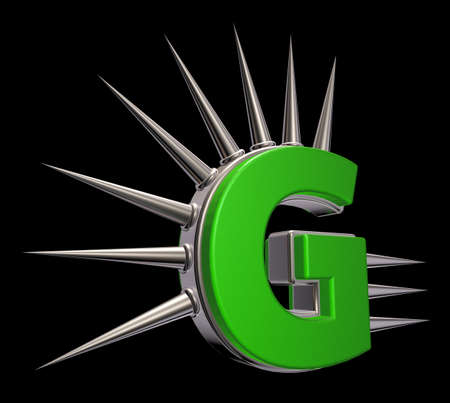 letter g with metal prickles on black background - 3d illustration Stock Illustration - 17111656