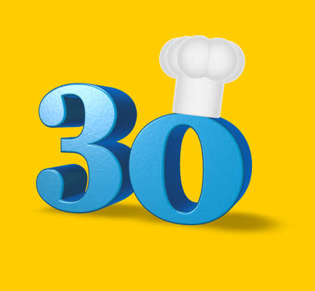 thirty: number thirty with cook hat on yellow background - 3d illustration Stock Photo