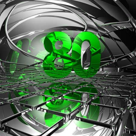 achtzig: Nummer 80 auf Chrom Fliesen - 3d illustration