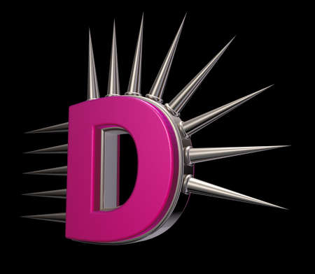 letter d with metal prickles on black background - 3d illustration Stock Illustration - 17157861