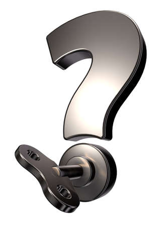 question mark with wind up key - 3d illustration Stock Illustration - 17157860
