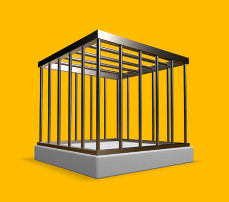 metal cage on yellow background - 3d illustration Stock Illustration - 17157877