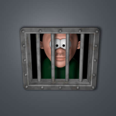 incarceration: cartoon guy behind riveted steel prison window - 3d illustration
