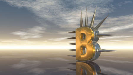 letter b with metal prickles under cloudy sky - 3d illustration illustration