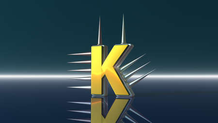 letter k with metal prickles - 3d illustration Stock Illustration - 17157854