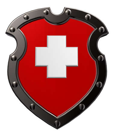metal shield with switzerland flag  - 3d illustration