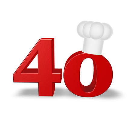 forty: number forty with cook hat on white background - 3d illustration Stock Photo