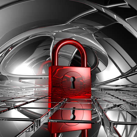padlock in abstract space - 3d illustration Stock Illustration - 17158169