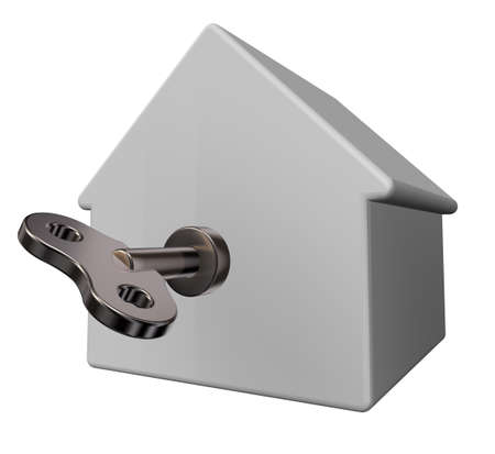 windup: simple house model with wind-up key - 3d illustration Stock Photo