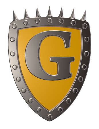 metal shield with letter g on white background - 3d illustration illustration