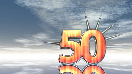 number fifty with prickles under cloudy sky - 3d illustration Stock Illustration - 17158127