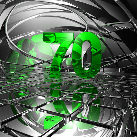 seventy: number seventy in abstract mirror space - 3d illustration