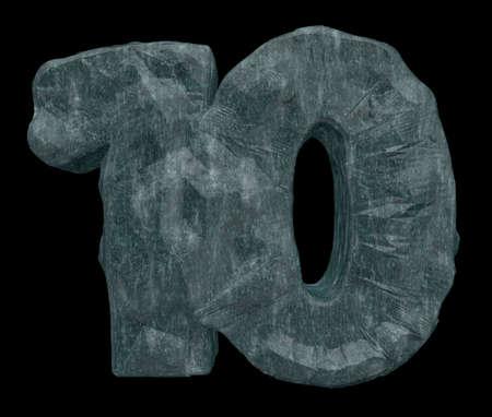 numero diez: n�mero diez roca en el fondo blanco - ilustraci�n 3d Foto de archivo