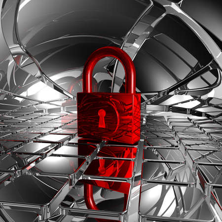 padlock in abstract space - 3d illustration Stock Illustration - 17249920