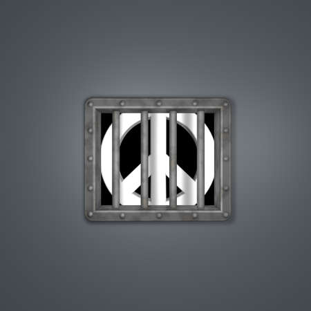 pacific symbol in prison - 3d illustration Stock Illustration - 17249910