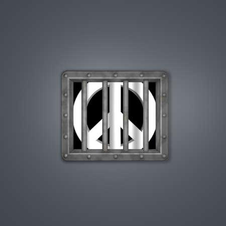pacific symbol in prison - 3d illustration Stock Illustration - 17249910