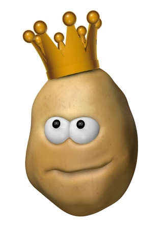 tuber: funny potato with crown - 3d illustration