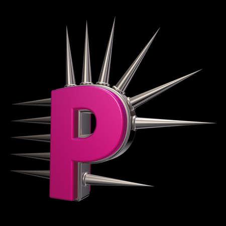 prickles: letter p with metal prickles on black background - 3d illustration