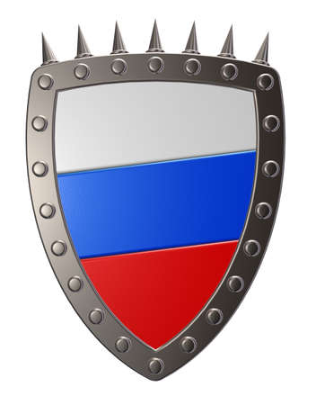 metal shield with russia flag  - 3d illustration Stock Illustration - 17249909