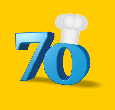 seventy: number seventy with cook hat on yellow background - 3d illustration