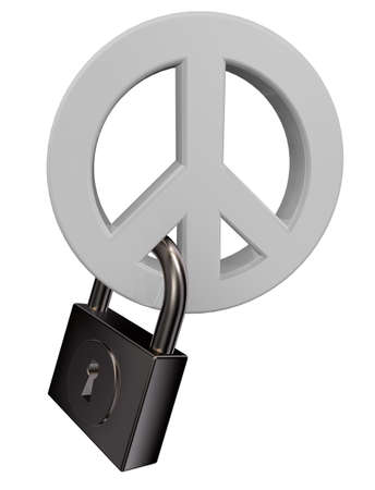 peace symbol and padlock on white background - 3d illustration illustration