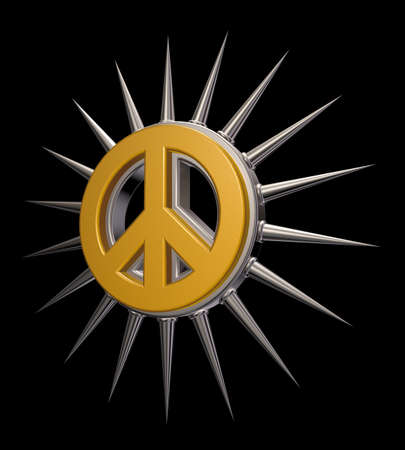 disarmament: pacific symbol with thorns - 3d illustration