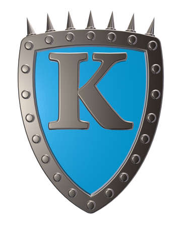 metal shield with letter k on white background - 3d illustration illustration