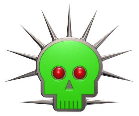 prickles: skull shape with prickles on white background - 3d illustration