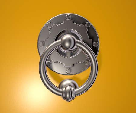 metalen klopper op gele achtergrond - 3d illustratie