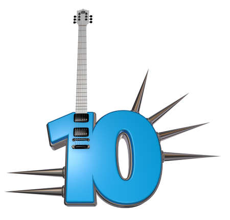 number ten guitar with prickles on white background - 3d illustration illustration