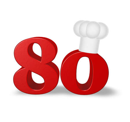 eighty: number eighty with cook hat on white background - 3d illustration Stock Photo