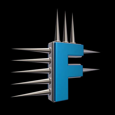 letter f with metal prickles on black background - 3d illustration illustration