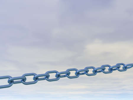 metal chain in front of cloudy sky - 3d illustration illustration