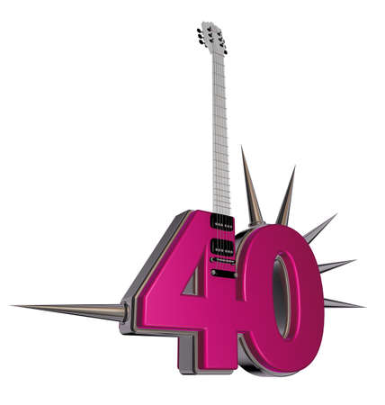 number forty guitar with prickles on white background - 3d illustration Stock Illustration - 17447468