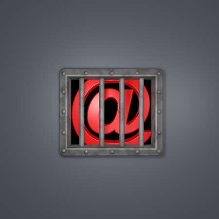 email symbol behind prison window - 3d illustration illustration
