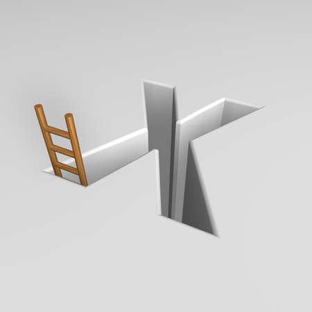 ascended: uppercase letter x shape hole with ladder - 3d illustration