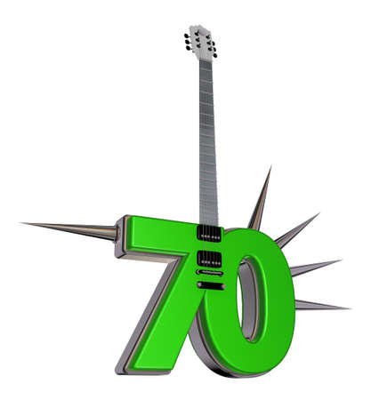 number seventy guitar with prickles on white background - 3d illustration Stock Illustration - 17502244