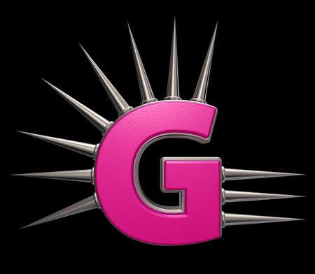 prickles: letter g with metal prickles on black background - 3d illustration